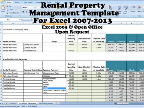 excel rental template rental income and expense excel spreadsheet property