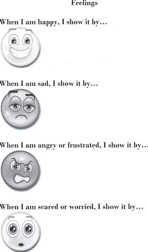 Feelings Worksheet by Therapeutic Interventions For Children August 2012