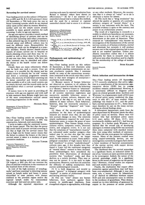 Schizophrenia Research Letter To The Editor Pathogenesis And Epidemiology Of Schizophrenia The Bmj