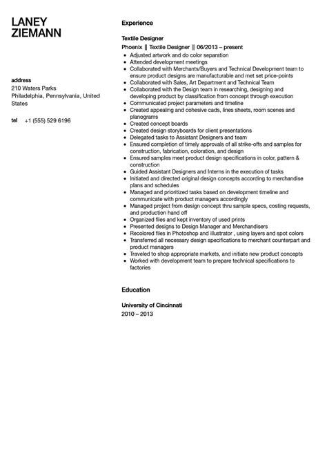 Fabric Designer Sle Resume by Textile Designer Resume Sle Velvet