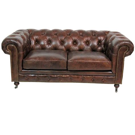 georgian style distressed leather tufted sofa for sale at