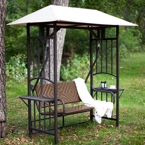 outdoor swing bench with canopy coral coast bellora 2 person gazebo swing natural resin
