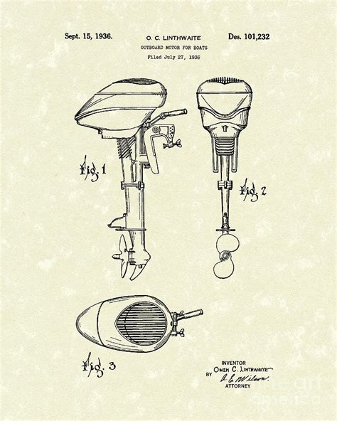 motor boat drawing boat motor 1936 patent drawing by prior design