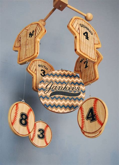 yankees mobile wooden new york yankees baseball baby mobile for a