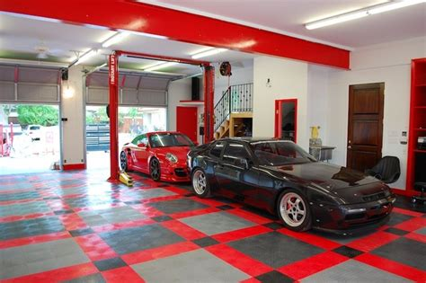 RaceDeck garage flooring ideas   cool garages with cool cars too   Traditional   Garage And Shed