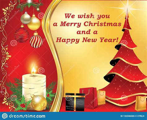 merry christmas  happy  year classic greeting card stock illustration