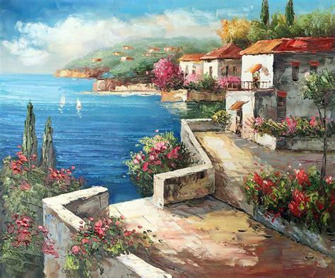 Mediterrane Bilder Gemalt by New Year Gift Modern Canvas Mediterranean Landscape