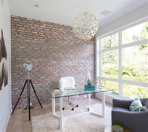 brick accent wall trendy textural beauty 25 home offices with brick walls