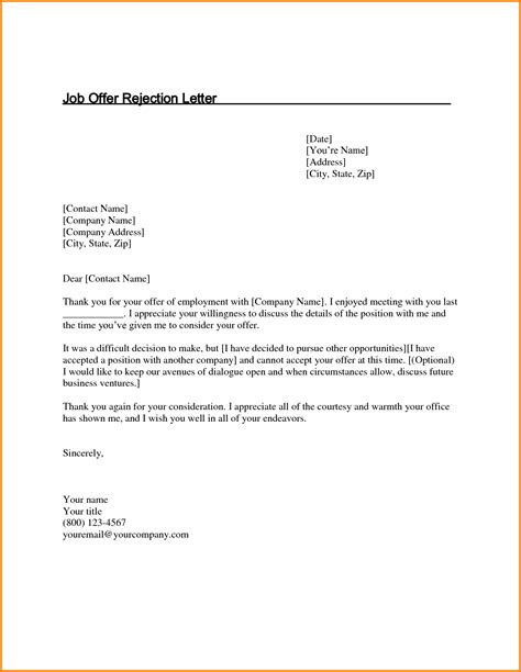 11 decline job offer letter letter template word