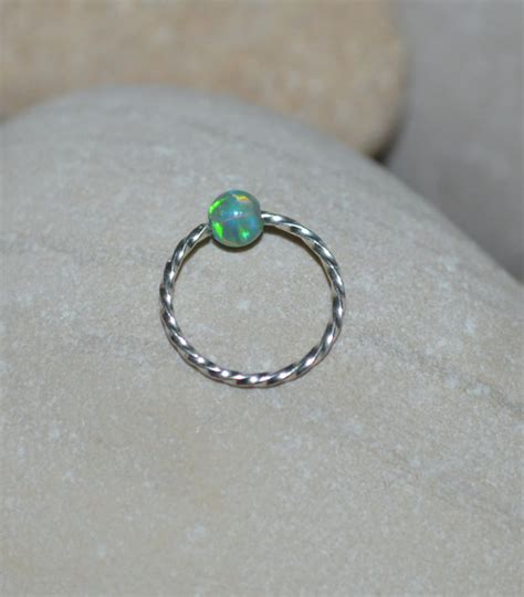 captive bead nose ring opal nose ring silver nose piercing captive bead ring