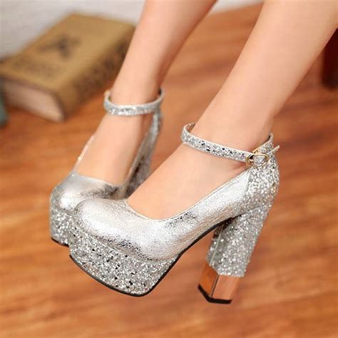 thick heeled sandals silver thick heels fs heel