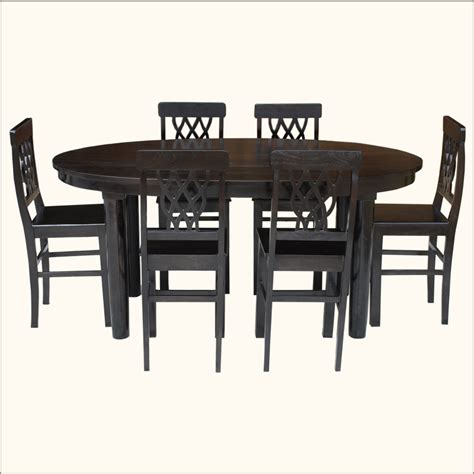contemporary 7pc oval kitchen counter dining table rustic