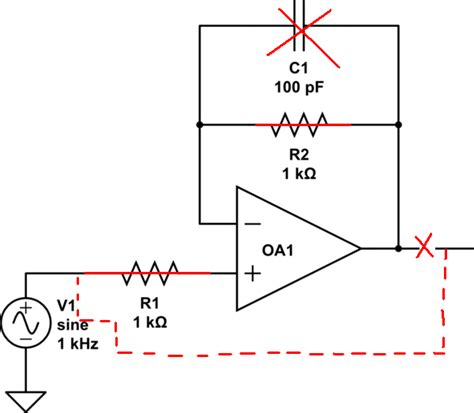 capacitor effect on sine wave op parallel resistor and capacitor in non inverting voltage follower electrical