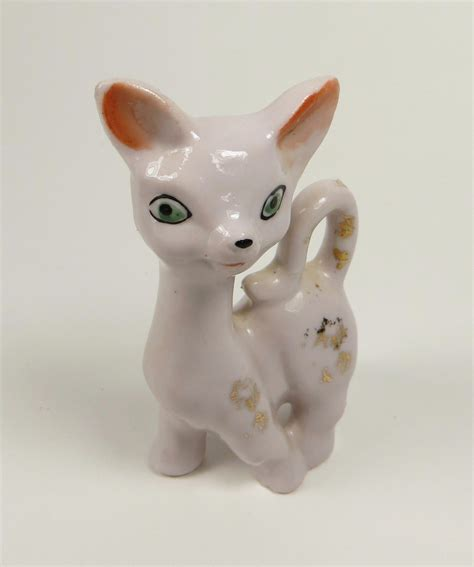Cat Figurine by Vintage Porcelain Cat Figurine Japan Kitsch Collectibles