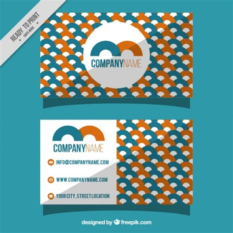 free orang and blue bussiness card templates business card with orange and blue geometric shapes vector