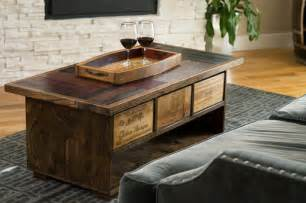 coffee table with storage drawers in walnut finish wine stave coffee table with drawers dark walnut finish