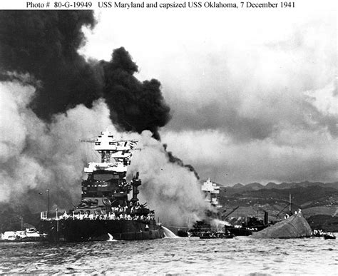 pictures from pearl harbor attack uss oklahoma and uss maryland during the pearl harbor attack