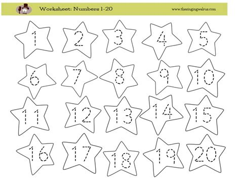 Number Worksheets 1 20 by Writing Numbers Worksheet 1 20 Free Worksheets Library