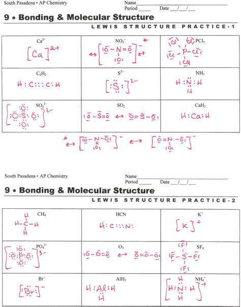 Lewis Structure Worksheet With Answers by Electron Dot Diagram Worksheet Answers Periodic