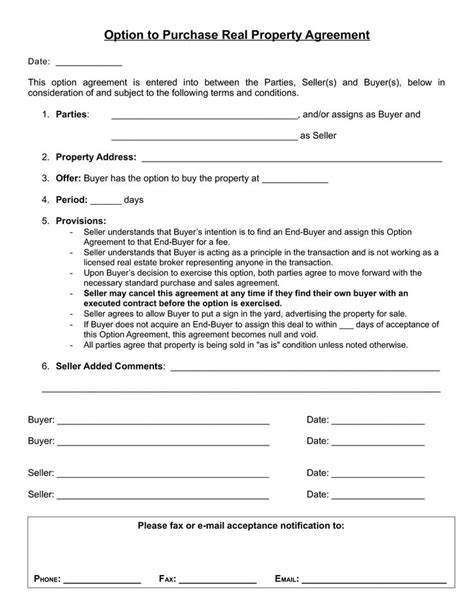 real estate option agreement template option to purchase agreement buying real estate
