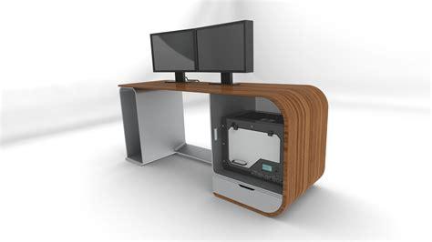futuristic computer desk future desk free 3d model ige igs iges cgtrader com