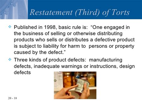 section 402a of the restatement second of torts chapter 20 product liability