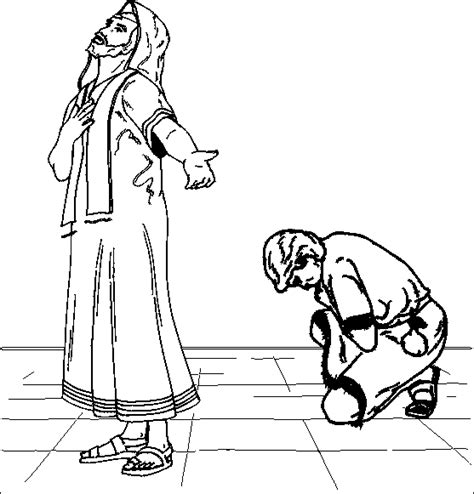coloring page the pharisee and the publican pray