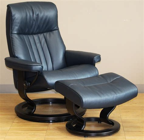 Stressless Blues Recliner by Stressless Crown Cori Blue Leather Recliner Chair