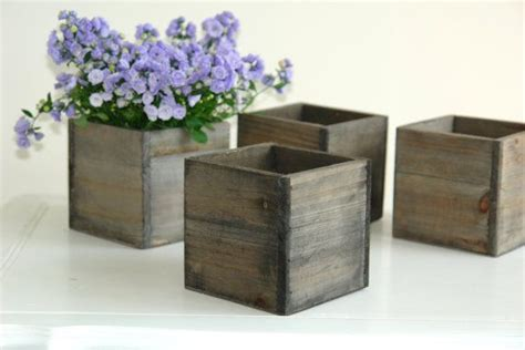 Small Planter Boxes by Wood Box Wood Boxes Woodland Planter Flower Rustic Pot