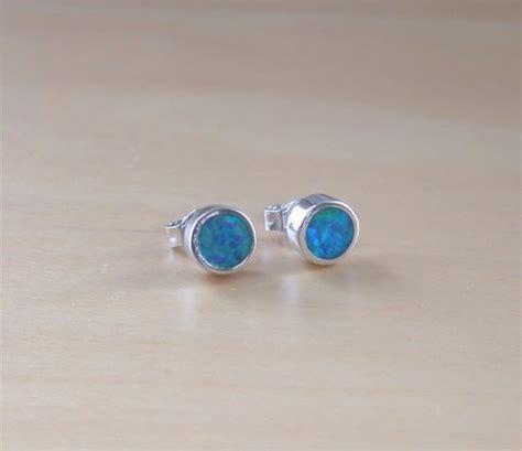 black opal 6mm trillion stud earrings 925 sterling 925 blue opal stud earrings 6mm blue opal stud earrings