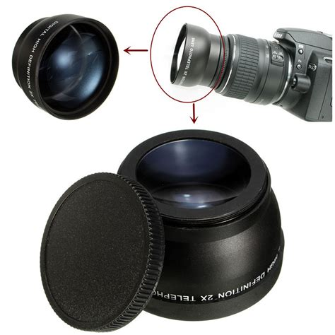 Filter Kamera Nikon D5200 52mm 2x telephoto lens for nikon d3100 d5200 d5100 d7100 d90 d60 dslr with filter thread