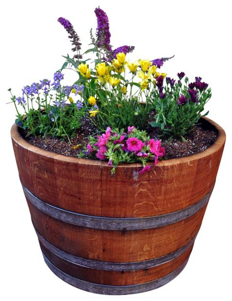 wine barrel planters wine barrel half barrel planter outdoor pots and