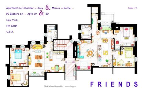 famous floor plans artist draws beautiful floor plans of famous tv show homes