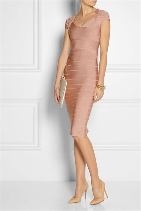 beaded bandage dress herv 233 l 233 ger beaded bandage dress in pink lyst