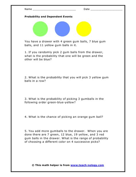 Probability Of Events Worksheet by Worksheets Independent And Dependent Events Worksheet