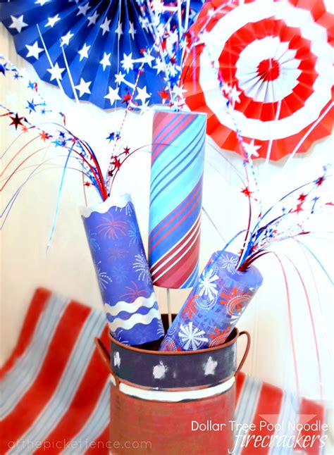 patriotic pool noodle firecrackers at the picket fence