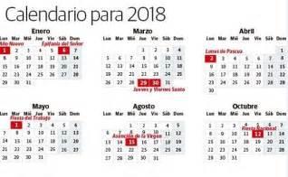 Calendario 2018 Dias Festivos Mexico Calendario Laboral 2018 Los D 237 As Festivos En Espa 241 A El