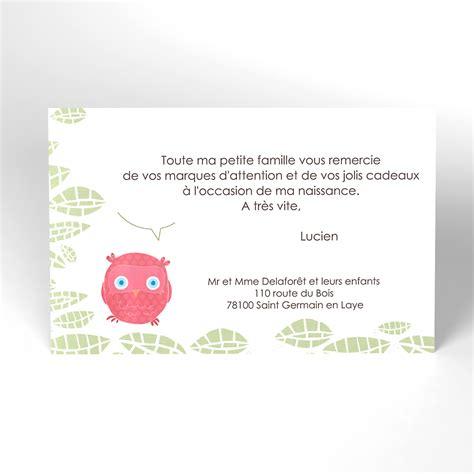 Lettre De Remerciement Naissance Carte De Remerciement Chouette Famille Fille Carte Remerciement