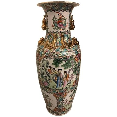 Gold Floral Vases by Palace Size Porcelain Vase With Floral Motif And Gold