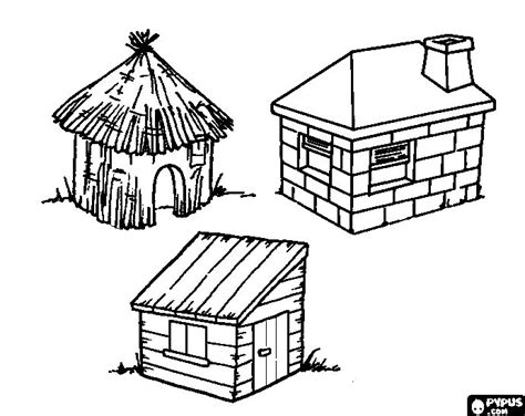 Printable Straw House | free coloring pages of 3 little pigs straw house