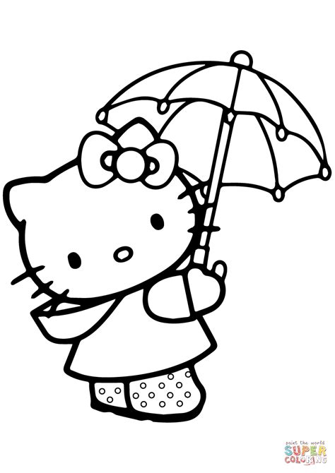 lulu kitty coloring pages lovely hello kitty under the umbrella coloring page free