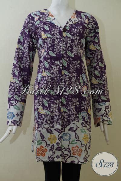 Baju Saat Kerja pakaian batik blus ungu motif paling keren saat ini baju batik cewek kerja kantoran til