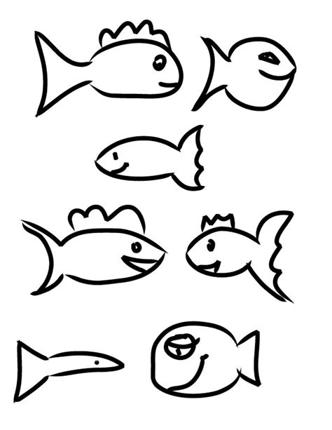 simple fish template az coloring pages
