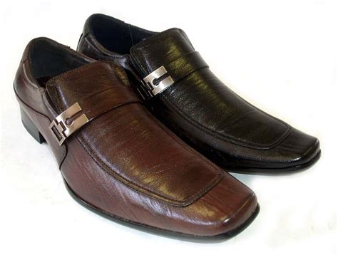 new mens leather dress shoes buckle loafers slip on