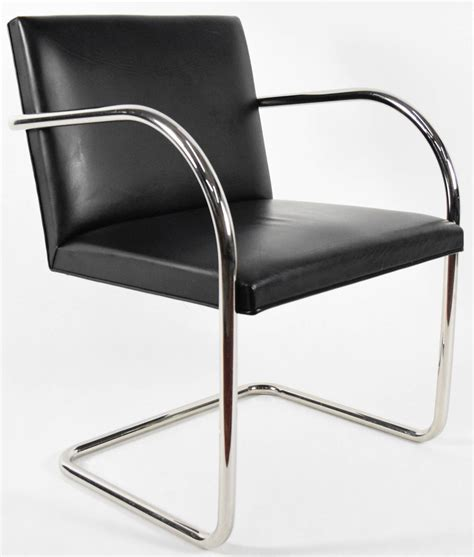 Knoll Chair by Tubular Brno Chair In Black Leather By Knoll For Sale At