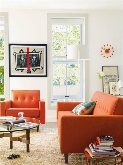 Orange Sofa Decorating Ideas by Living Room With An Orange Sofa Daily Decor