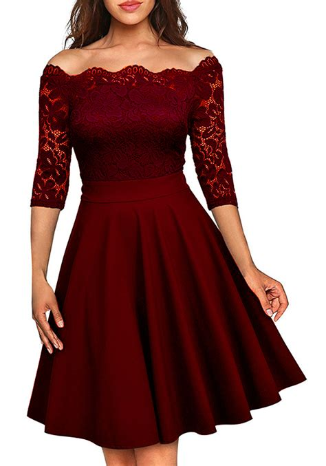 wine red patchwork irregular lace boat neck  sleeve