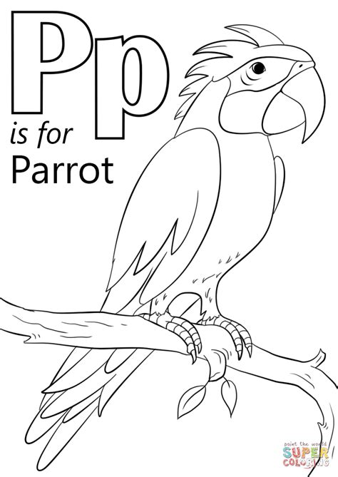 Letter P Coloring Pages Kindergarten by Letter P Is For Parrot Coloring Page Free Printable