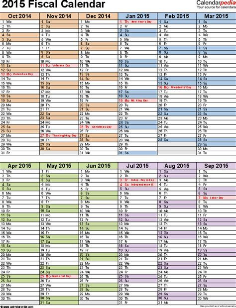financial calendar template fiscal calendars 2015 as free printable pdf templates