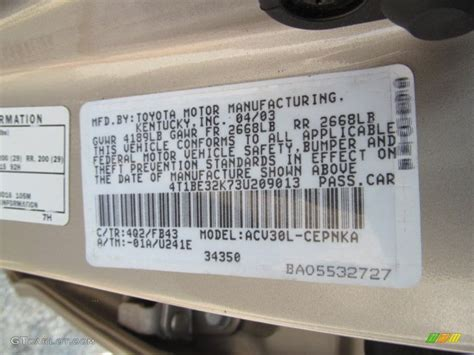 2003 camry color code 4q2 for desert sand mica photo 63328546 gtcarlot